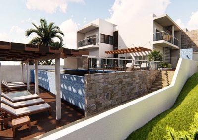 Trabajo render 3d exterior casa piscina por Roger Torres García.
