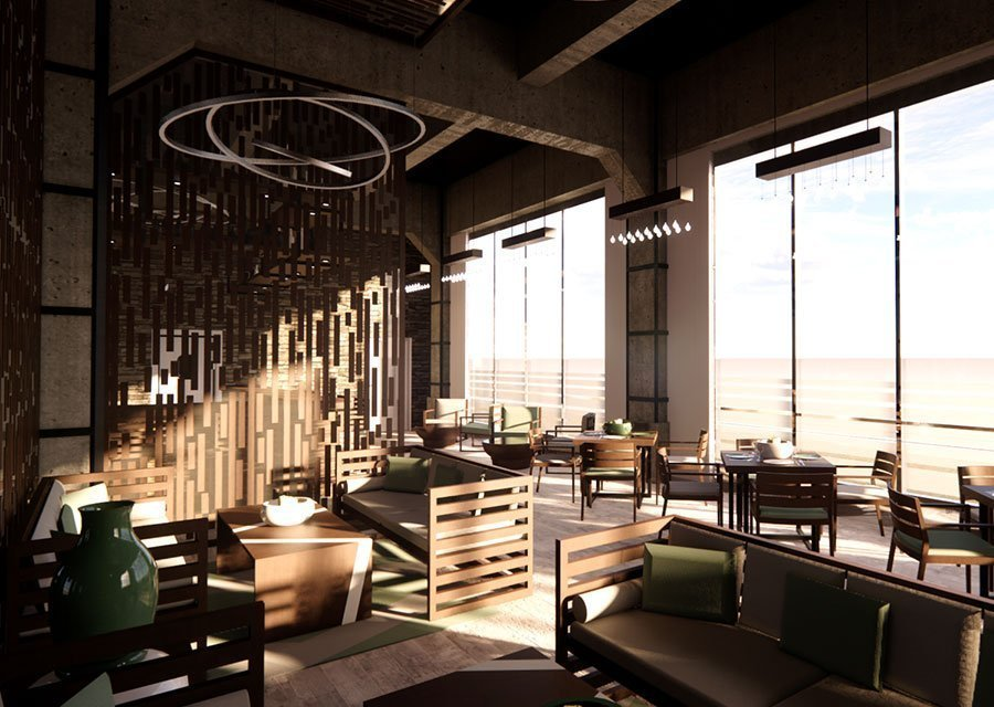 Render 3d terraza restaurant por Roger Torres García.